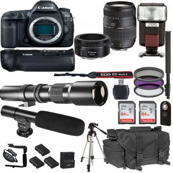 Canon EOS 5D Mark IV DSLR Camera with EF 50mm F/1.8 STM Prime Lens Tamron 70-300mm f/4-5.6 Lens and Accessory Bundle