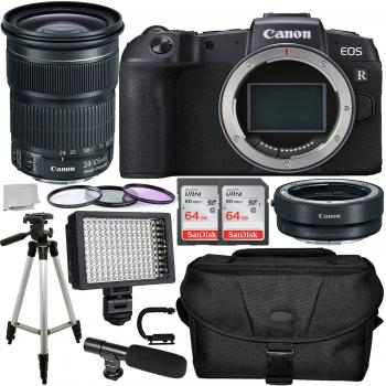 Canon EOS RP Mirrorless Digital Camera with 24-105mm Lens Mount Adapter EF-EOS R and Accessory Bundle