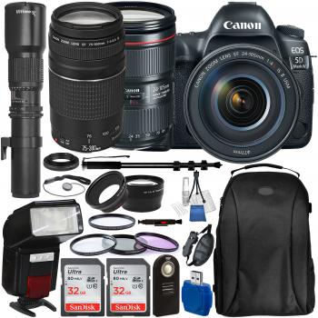 Canon EOS 5D Mark IV DSLR Camera with 24-105mm f/4L II Lens EF 75-300mm f/4-5.6 III Lens Ultimaxx 500mm Preset Lens and Accessory Bundle