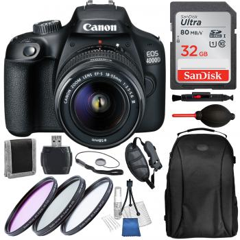 Canon EOS 4000D with EF-S 18-55mm f/3.5-5.6 III and Accessory Bundle