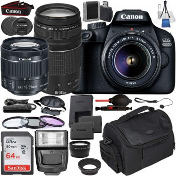 Canon EOS 4000D DSLR Camera with EF-S 18-55mm f/3.5-5.6 III and EF 75-