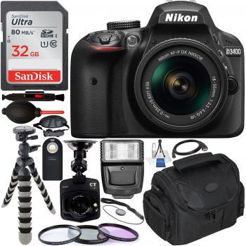 Nikon D3400 DSLR Camera with AF-P 18-55mm Lens Kit (Black) – 1587 with Free Promotional Dash Cam