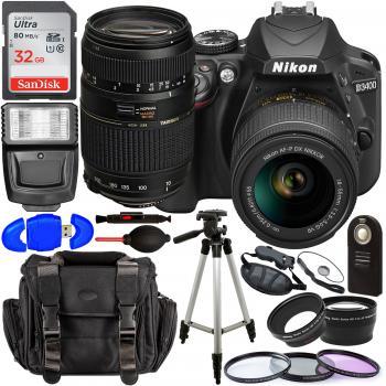 Nikon D3400 DSLR Camera with 18-55mm Lens (Black) – 1571 with Tamron 70-300mm Lens for Nikon AF - AF017NII-700 and Accessory Bundle