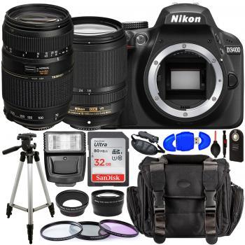 Nikon D3400 DSLR Camera with 18-140mm Lens (Black) – 1571 with Tamron 70-300mm Lens for Nikon AF - AF017NII-700 and Accessory Bundle