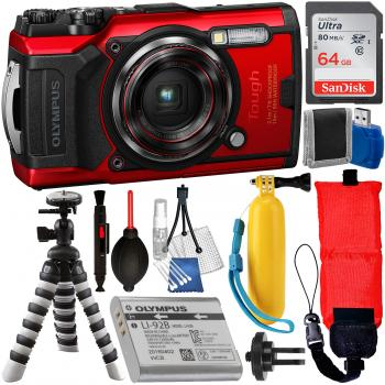 Olympus Tough TG-6 Digital Camera (Red) - V104210RU000 with Essential