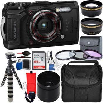 Olympus Tough TG-6 Digital Camera (Black) - V104210BU000 with Deluxe A