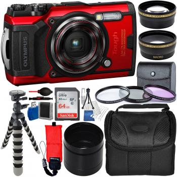 Olympus Tough TG-6 Digital Camera (Red) - V104210RU000 with Deluxe Acc