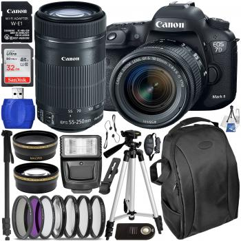 Canon EOS 7D Mark II DSLR Camera - 9128B002 with 18-55mm Lens - 1620C002 & 55-250mm Lens - 8546B002 & Deluxe Accessory Bundle