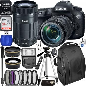 Canon EOS 7D Mark II DSLR Camera with 18-135mm Lens - 9128B016 & 55-250mm Lens - 8546B002 & Deluxe Accessory Bundle