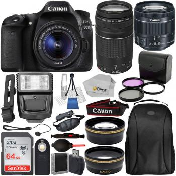 Canon EOS 80D DSLR Camera with EF-S 18-55mm IS STM - 1263C005 & EF 75-