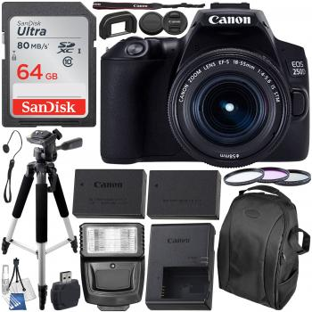 Canon EOS 250D (Rebel SL3) DSLR Camera with 18-55mm Lens & Essential A