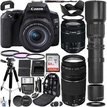 Canon EOS 250D (Rebel SL3) DSLR Camera with 18-55mm & 75-300mm Canon L