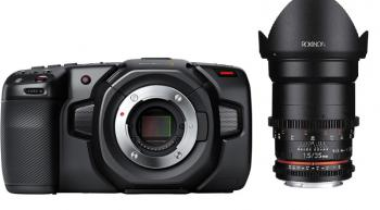 Blackmagic Design Pocket Cinema Camera 4K with Rokinon 35mm T1.5 Cine DS Lens for Micro Four Thirds Mount