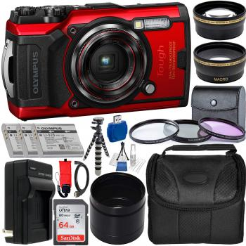 Olympus Tough TG-6 Digital Camera (Red) - V104210RU000 with Premium Ac