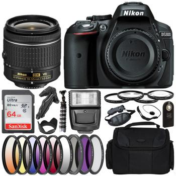Nikon D5300 DSLR Camera with 18-55mm Lens - 1522 and Deluxe Bundle