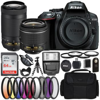 Nikon D5300 DSLR Camera with 18-55mm 70-300mm Lenses - 13507 and Essen