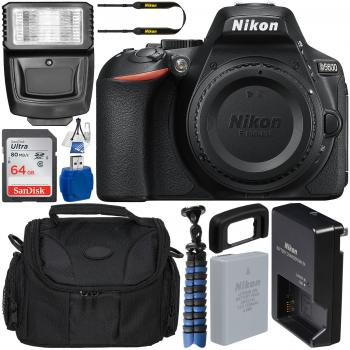 Nikon D5600 DSLR Camera (Body Only) - 1575 with Accessory Bundle