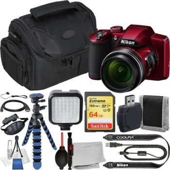 Nikon COOLPIX B600 Digital Camera (Red) - VQA091EA with Accessory Bund