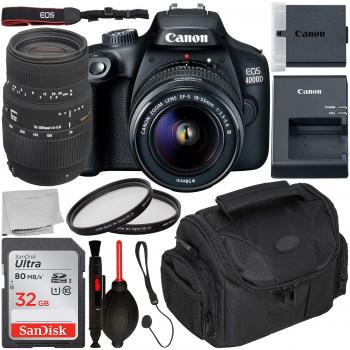 Canon EOS 4000D DSLR Camera with EF-S 18-55mm III Lens - 2628C003 & Si
