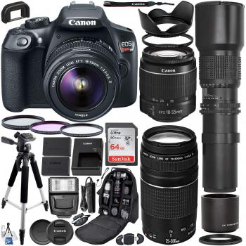 Canon EOS Rebel T6 DSLR Camera with 18-55mm & 75-300mm Canon Lenses &