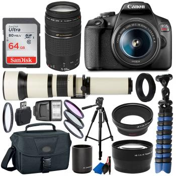 Canon EOS Rebel T7 DSLR Camera Two Lens Kit Bundle with 650-1300mm and
