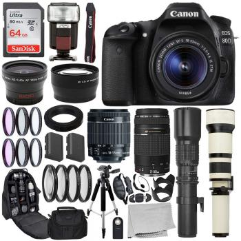 Canon EOS 80D DSLR Camera with 18-55mm - 1263C005 and 75-300mm Lenses