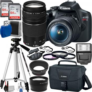 Canon EOS Rebel T7/2000D DSLR Camera with 18-55mm and 75-300mm Lenses