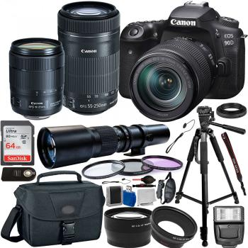 Canon EOS 90D DSLR Camera with 18-135mm IS USM - 3616C016 55-250mm - 8