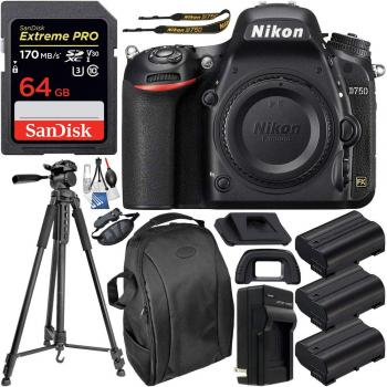 Nikon D750 DSLR Camera (Body Only) - 1543 & Deluxe Accessory Bundle