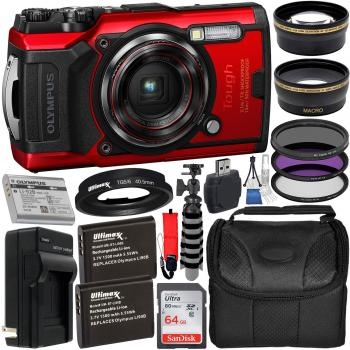 Olympus Tough TG-6 Digital Camera (Red) - V104210RU000 with Accessory