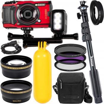 Olympus Tough TG-6 Digital Camera (Red) - V104210RU000 with Starter Ac