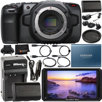 Blackmagic Design Pocket Cinema Camera 6K (Canon EF) - CINECAMPOCHDEF6K with FeelWorld Master MA5 5in 4K On-Camera Monitor with HDMI Input/Output Starter Bundle