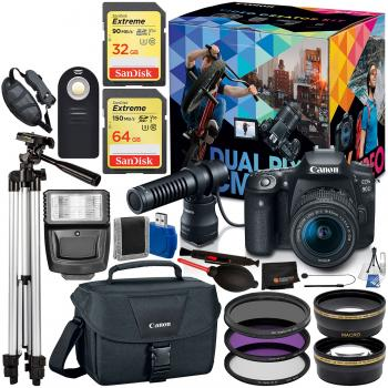 Canon EOS 90D DSLR Camera Video Creator Kit - 3616C074 & 18PC Professi