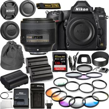 Nikon D780 DSLR Camera(Body Only) - 1618 with Nikon AF-S NIKKOR 85mm f/1.8G Lens - 2201 and 10pc Essential Bundle