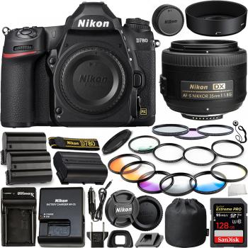 Nikon D780 DSLR Camera(Body Only) - 1618 with Nikon AF-S DX NIKKOR 35mm f/1.8G Lens - 2183 and 10pc Accessory Bundle