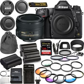 Nikon D780 DSLR Camera(Body Only) - 1618 with Nikon AF-S NIKKOR 50mm f/1.8G Lens - 2199 & 10pc Essential Bundle