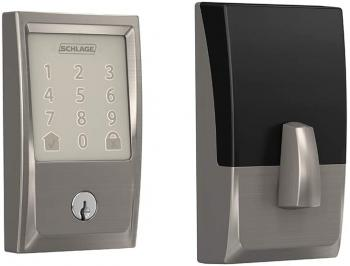 Schlage Encode Smart WiFi Deadbolt with Century Trim in Satin Nickel (