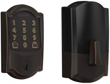 Schlage Encode Smart WiFi Deadbolt with Camelot Trim in Aged Bronze (B
