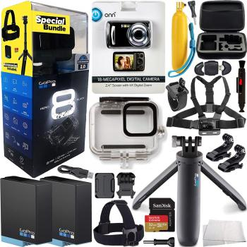 GoPro HERO8 Action Camera (Black) bundle with FREE Promotional ONN ONA