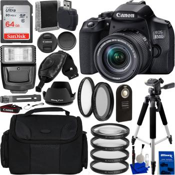 Canon EOS 850D Digital SLR Camera with 18-55mm EF-S IS STM Lens and Es