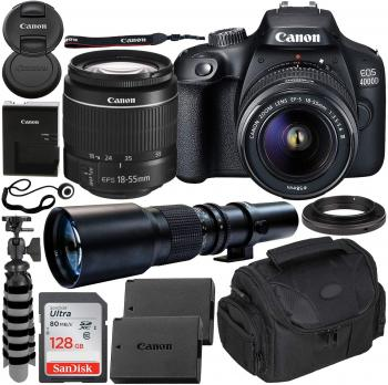 Canon EOS 4000D DSLR Camera with EF-S 18-55mm f/3.5-5.6 III Lens & 500
