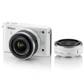 Nikon 1 J1 Mirrorless Digital Camera with 10mm WA/10-30mm Zoom Lens (White) 1J1