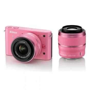 Nikon 1 J1 Mirrorless Digital Camera with 10-30mm / 30-110 mm Lens (Pink) 1J1