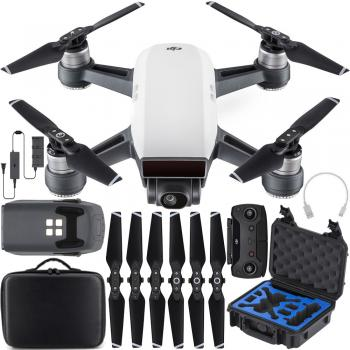 DJI Spark Quadcopter (Alpine White) with Go Professional Cases Compact Case