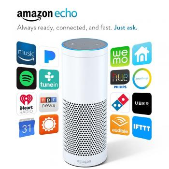 Amazon Echo Smart Speaker with Voice Recognition - White