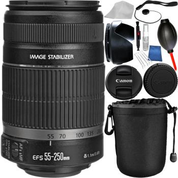 Canon EF-S 55-250mm f/4-5.6 IS II Lens Bundle with Manufacturer Accessories & Cleaning Kit