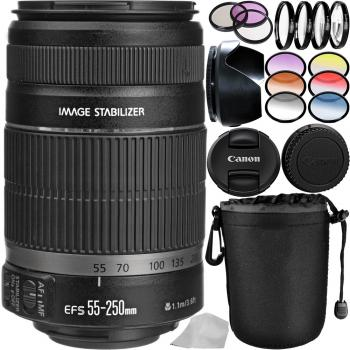 Canon EF-S 55-250mm f/4-5.6 IS II Lens Bundle with Manufacturer Accessories & Filter Sets
