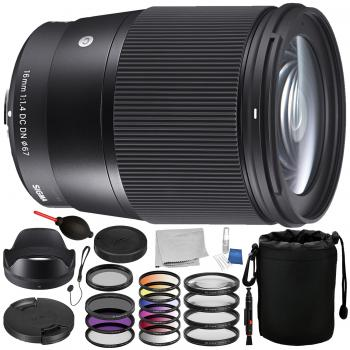 Sigma 16mm f/1.4 DC DN Contemporary Lens for Sony E with Accessory Bundle