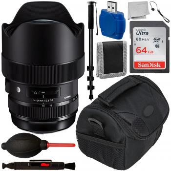 Sigma 14-24mm f/2.8 DG HSM Art Lens for Nikon F with Accessory Bundle