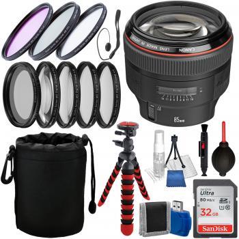 Canon EF 85mm f/1.2L II USM Lens - 1056B002 and Accessory Bundle